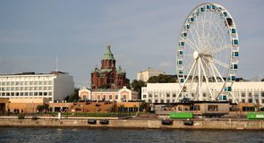 View of Helsinki. Panorama of Helsinki with Uspenski cathedral and ferris wheel Stock Photography