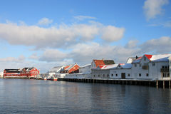 View of Hennigsvaer's Canal grande. The canal grande of Hennigsvaer with the traditional wooden houses Stock Photography