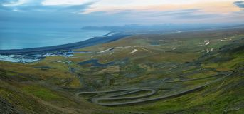 View on Heradssandur from route 917. Iceland. In background Heradsfloi Stock Photography