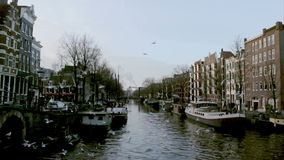 View of heritage city canals (Brouwersgracht) of Amsterdam stock video footage