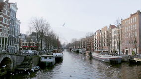 View of heritage city canals (Brouwersgracht) of Amsterdam stock video