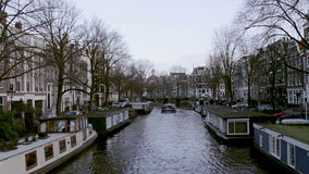 View of heritage city canals (Brouwersgracht) of Amsterdam stock footage