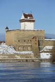 View of Herman castle in march. Narva, Estonia Stock Image