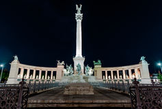 View of Heroes' Square at night Stock Photography