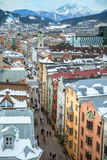 The view at Herzog-Friedrich street from top of Stadtturm, Innsbruck Royalty Free Stock Photography