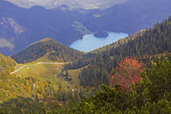 View from herzogstand mountain to lake walchensee Stock Photo
