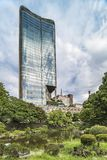 View from the Hibiya public park of the Tokyo Midtown Hibiya building located in the Yurakucho district in Tokyo, Japan. Completed in March 2018, the project stock images