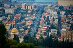 View on Hifa city and Mediterranean Sea from above stock image