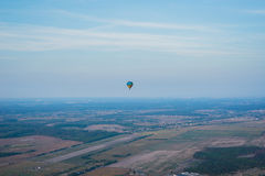 A view from high above - landsacape. little town and the horisont. Balloon flight. basket 1000 meters. having fun, romantic flight Royalty Free Stock Images