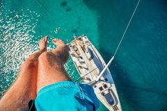 View from high angle of sailing boat. Aerial photography of ship royalty free stock photography