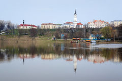 View of the high bank of the Dnepr in Mogilev. View of the high bank of the Dnepr river in Mogilev, Belarus royalty free stock photo