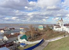 View from the high bank of the Oka River in the street Christmas and Church of Elijah the Prophet. Stock Photo