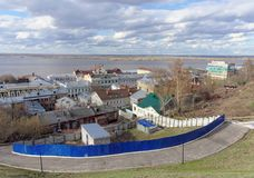 View from the high bank of the Oka River in the street Christmas and expanse of water. Stock Image