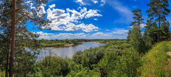 View from the high bank of the river Klyazma Stock Image
