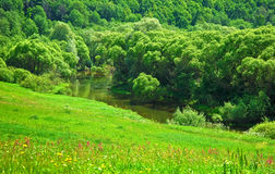 View from the high bank of the river. View from the high bank of the Luzha river Royalty Free Stock Photo