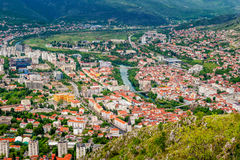 The view from high on the city of Mostar Stock Images