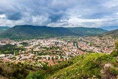 The view from high on the city of Mostar in Herzegovina Royalty Free Stock Photos