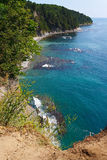 View from the high cliffs on the beautiful coast with reefs Stock Images