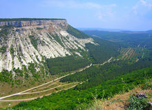 View from high fortress to white cliff. Stock Photography