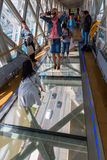 View from high-level walkway of Tower Bridge on the bridge traffic in London, UK Stock Image