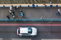 View from high-level walkway of Tower Bridge in London, UK, on the bridge traffic Royalty Free Stock Photography