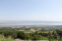View from high in location close to city Thessaloniki, Greece Royalty Free Stock Photo