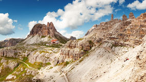 View of high mountain in Italy near tourist cottage Stock Image