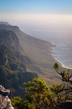 View from high mountain on ocean coastline Stock Photography