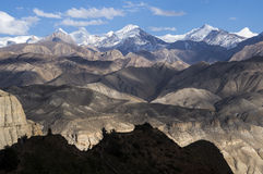 View of high mountains and desert altitude in Mustang Stock Photo