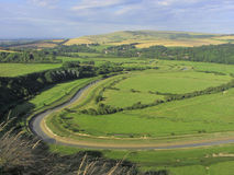 View from High and Over, East Sussex, England,UK. River Cuckmere winds through Sussex Downs Royalty Free Stock Images