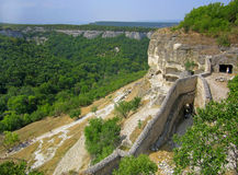 View from high place to defensive wall of fortress. Royalty Free Stock Photography