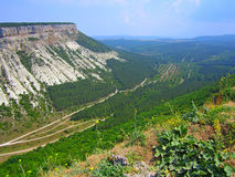 View from high place to white cliff. Royalty Free Stock Photo