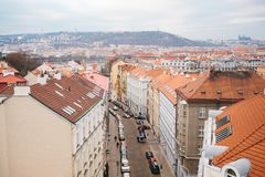 View from a high point. A beautiful view from above on the streets, roads and roofs of houses in Prague. Traditional royalty free stock photos