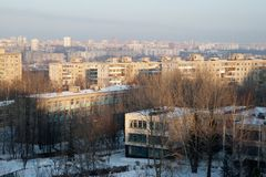 View from a high point on Kindergatden daycare, school and the city of Ufa Russia. Mendeleev street on Ufa, Bashkortostan, Russia. Winter. 2014 royalty free stock photography