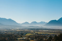 View from a high point to the historic city of Salzburg. A city in western Austria, the capital of the federal state of Stock Photography