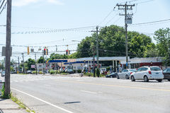 View of High Ridge Road on Stamford, CT. STAMFORD, USA - JULY 16: View of High Ridge Road on July 16, 2015 in Stamford, CT. Stamford is a city in Fairfield Royalty Free Stock Photos