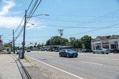 View of High Ridge Road in Stamford. STAMFORD, USA - JULY 16: View of High Ridge Road on July 16, 2015 in Stamford, CT. Stamford is a city in Fairfield County Stock Photography