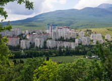 View of the high-rise buildings of the city of Alushta, Crimea Royalty Free Stock Photo