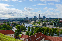 View on high-rise buildings of City on right bank of Neris River Royalty Free Stock Photos