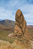 View of high rock and volcano Royalty Free Stock Image
