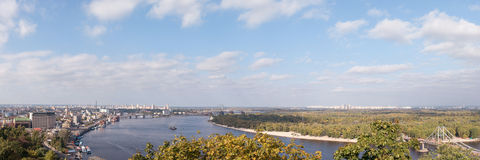 View from high side of Dnipro in Kyiv Stock Photo