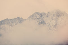 view on the high snowy mountains Stock Images