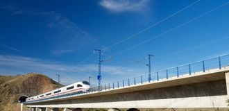 Speed Train view. View of a high-speed train crossing a viaduct in Purroy, Zaragoza, Aragon, Spain. AVE Madrid Barcelona stock image