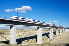 Speed Train view. View of a high-speed train crossing a viaduct in Roden, Zaragoza, Aragon, Spain. AVE Madrid Barcelona royalty free stock photos
