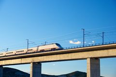 Speed Train view. View of a high-speed train crossing a viaduct in Roden, Zaragoza, Aragon, Spain. AVE Madrid Barcelona royalty free stock photo