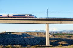 Speed Train view. View of a high-speed train crossing a viaduct in Roden, Zaragoza, Aragon, Spain. AVE Madrid Barcelona royalty free stock images