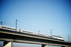 Speed Train view. View of a high-speed train crossing a viaduct in Roden, Zaragoza, Aragon, Spain. AVE Madrid Barcelona stock photo