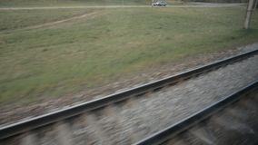 View from the high speed train HD stock footage. Railroad view stock footage