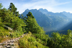 View of High Tatra Mountains from hiking trail. Stock Photo