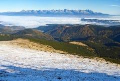 High tatras from low Tatras Stock Photography